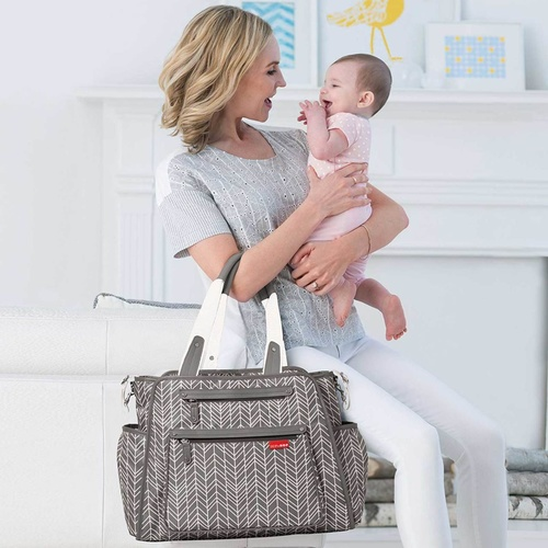 Grand Central Diaper Bag - Grey Feather