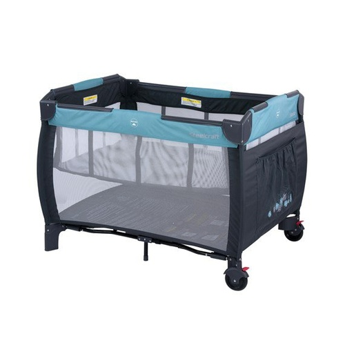 Steelcraft Siesta 2-in-1 Portable Cot - Blue Leaves